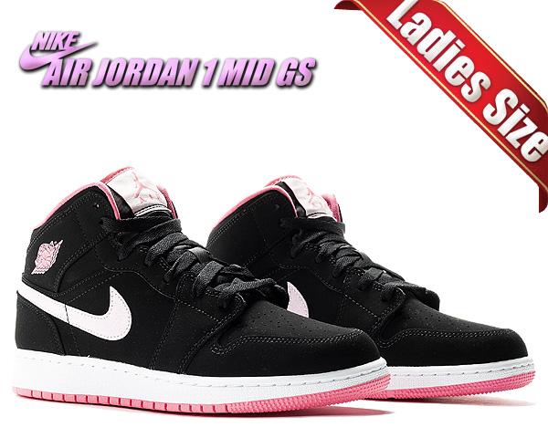 お得な割引クーポン発行中!!【送料無料 ナイキ エアジョーダン 1 ミッド ガールズ】NIKE AIR JORDAN 1 MID (GS) black/pink form-digital pink 555112-066 AJ1 MID スニーカー AJ1 ブラック ピンク