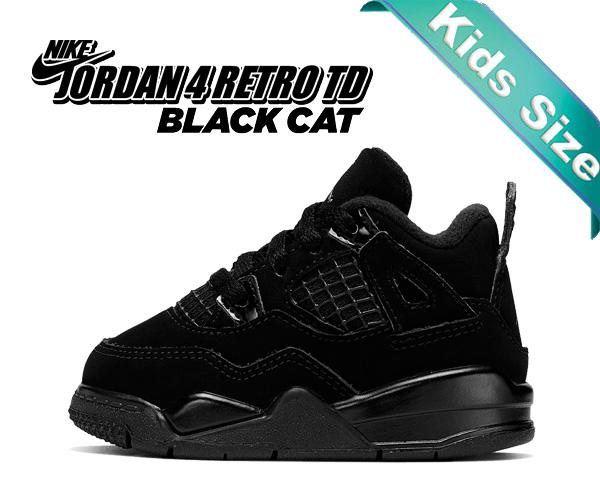 お得な割引クーポン発行中!!【送料無料 ナイキ ジョーダン 4 トドラー】NIKE JORDAN 4 RETRO (TD) BLACK CAT black/black-lt graphite bq7670-010 キッズ 子供靴 スニーカー AJIV
