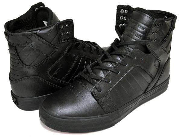 お得な割引クーポン発行中!!【スープラ スカイトップ】SUPRA SKYTOP CLASSICS S18274 / RCS Black leather. Red sole. スニーカー ブラック