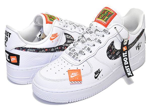 Among published by advantageous discount coupon! NIKE AIR FORCE 1 07 PRM JDI whitewhite black total orange JUST DO IT sneakers men white leather