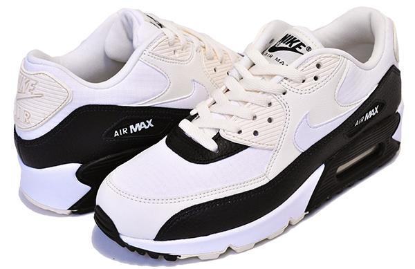 お得な割引クーポン発行中!!【ナイキ ウィメンズ エアマックス 90】NIKE WMNS AIR MAX 90 pale ivory/summit white-black スニーカー レディース ガールズ ホワイト ブラック