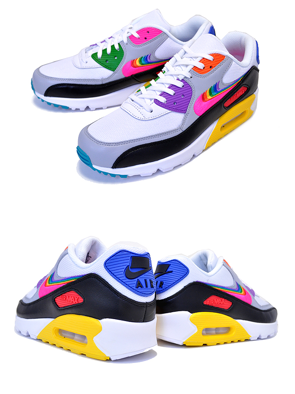 Among published by advantageous discount coupon! NIKE AIR MAX 90 BETRUE whtmulti color blk cj5482 100 men gap Dis women sneakers white rainbow