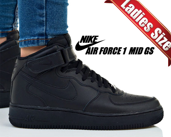 NIKE Nike air force sneakers Lady's AIR FORCE 1 MID GS air force 1 mid 314,195 004 shoes black