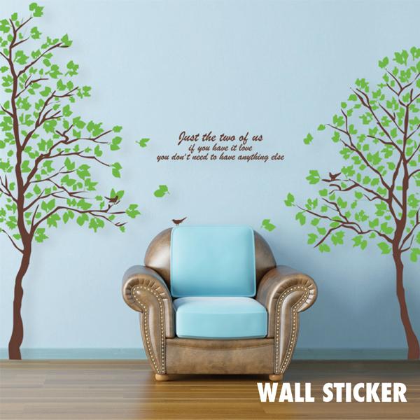 ウォールステッカー 2枚組 木 グリーン はがせる リーフ 植物 北欧 おしゃれ トイレ シール モノクロ インスタ 映え インテリア 壁紙 飾り 窓 英字 DIY はがせる クロス ウッド