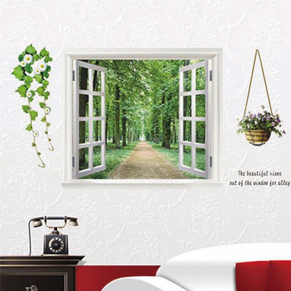 ウォールステッカー 窓のある風景 森林 グリーン 並木道 花 景色 木 北欧 おしゃれ オシャレ トイレ シール モノトーン インテリア 壁紙 飾り 窓 英字 風景 ドア インスタ 映え