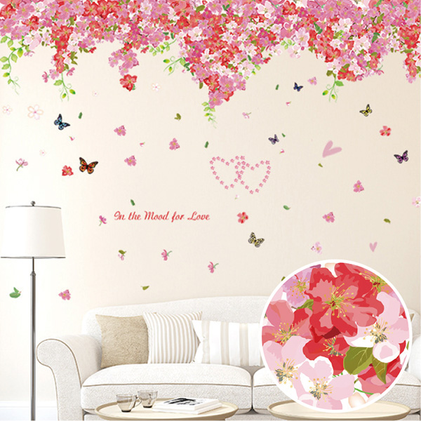 ウォールステッカー 2枚組 桜 サクラ さくら 木 花 フラワー ピンク シール 植物 春  シール モノトーン インテリア 壁紙 飾り インスタ 映え