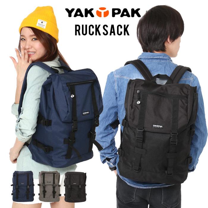 [ポイント10倍] YAKPAK リュックサック バッグ リュック バックパック デイパック スクエア YP2036 フラップ バックル ポリエステル 通勤 通学 男女兼用 メンズ レディース ユニセックス YACKPACK ヤックパック 黒 LZ 防災 非常