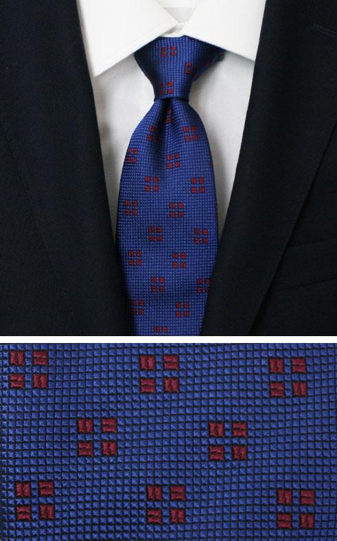 新作 FRANCO BASSI ( フランコバッシ ) / シルク 小紋柄 タイ【ブルー】【送料無料】
