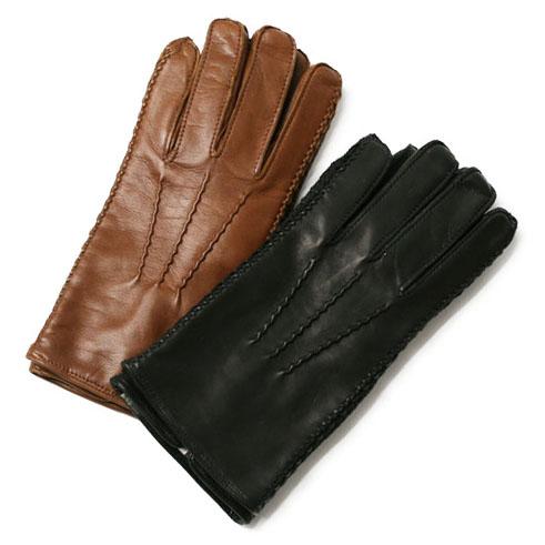 ラボニア / Labonia / キッド ナッパレザー グローブ / 手袋 / イタリア製 裏 カシミア【ブラウン/ブラック】