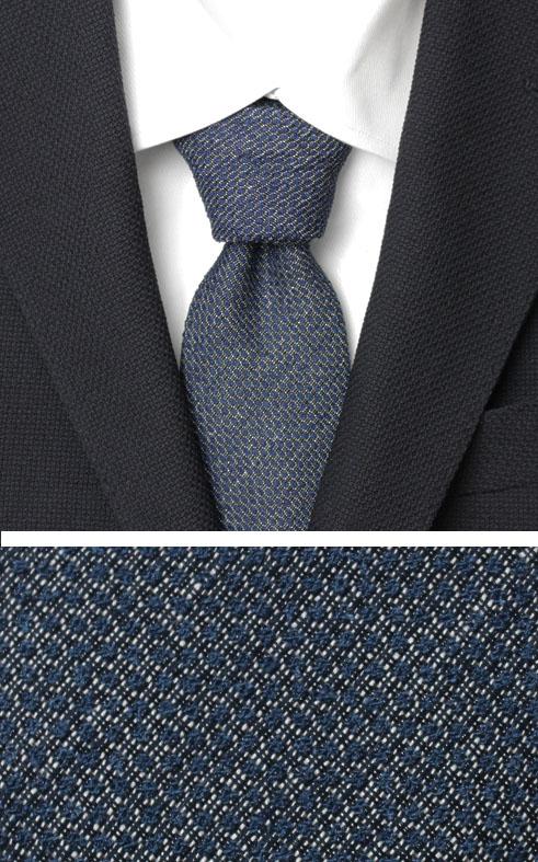フランコバッシ / FRANCO BASSI / ネクタイ / タイ / コットン シルク リネン 小紋柄【ネイビー】