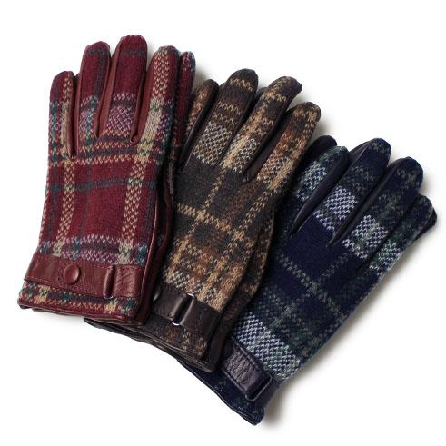 ラボニア / Labonia / ウールニット × ナッパレザー グローブ / 手袋 / イタリア製 チェック柄 裏カシミア【ボルドー/ネイビー/ブラウン】