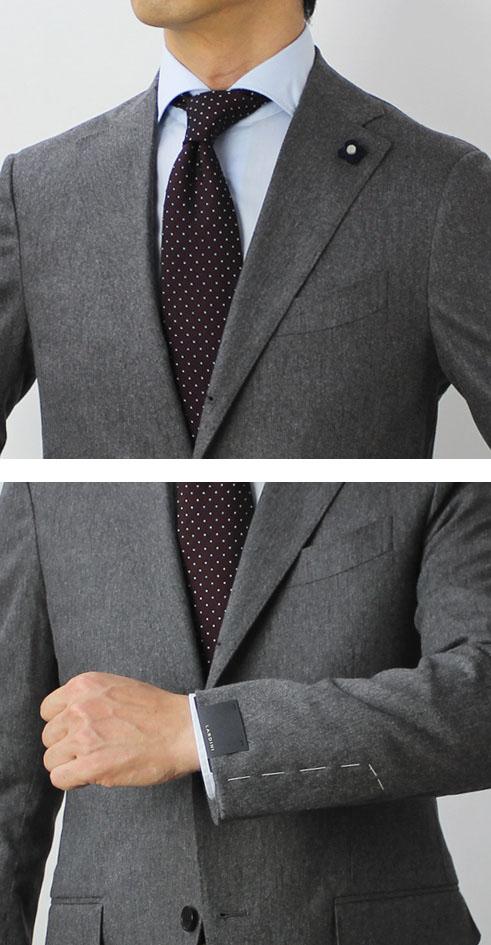 【国内正規品】F/W新作LARDINI(ラルディーニ)/ウールコットンストレッチ3釦段返りワンプリーツスーツ【グレー/ネイビー】【送料無料】