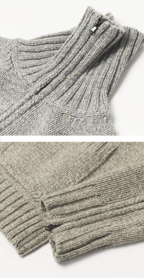 【均一SALE】【20000】秋冬 H953 ( アッカ ノーヴェチンクエトレ ) / ウール ヤク混 スタンド ZIP ニット ブルゾン【ベージュ/グレー/ブラウン】