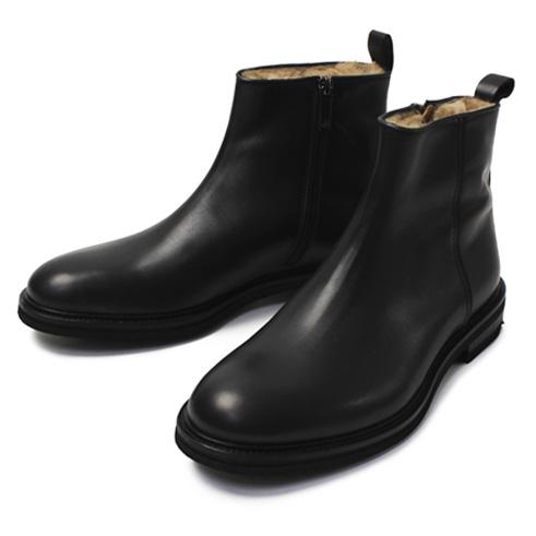 カメルレンゴ / CAMERLENGO / レザー プレーントゥ サイドZIP ムートン ブーツ【ブラック】【SALE 50】