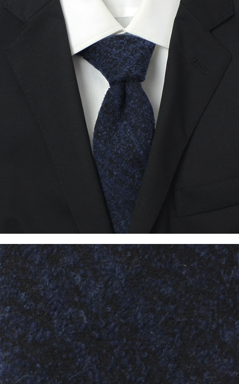 【秋冬】新作 FRANCO BASSI ( フランコバッシ ) / アルパカ ブークレ ウール タイ【ネイビー】【送料無料】