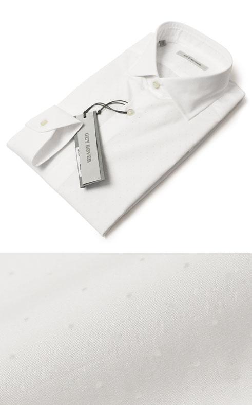 ギローバー / GUY ROVER / ドレス シャツ / セミワイド コットン パンチング【ホワイト】【SALE30】