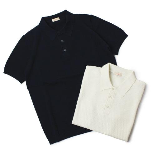 アルテア / altea / ニット ポロシャツ / コットン 半袖【ホワイト/ネイビー】
