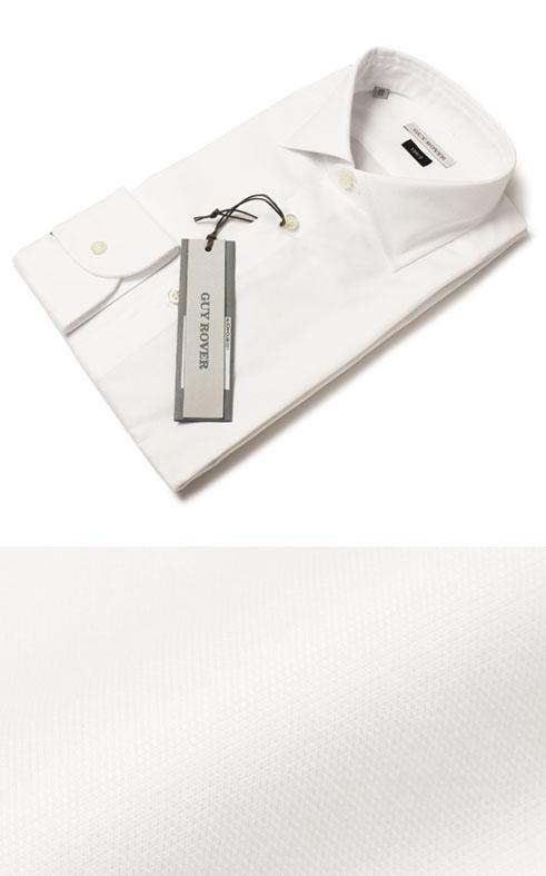 F/W 新作 GUY ROVER ( ギローバー ) / V2530/582901 / 120/2 コットン オックス セミワイドカラー ドレス シャツ【ホワイト】【送料無料】