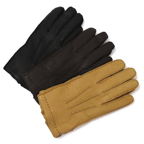 デンツ / DENTS / グローブ / 手袋 / イングランド製 ペッカリーレザー / 裏 カシミア【CORK/BARK/BLACK】