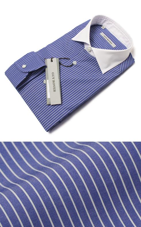 【SALE 30】S/S 新作 GUY ROVER ( ギローバー ) / コットン ストライプ セミワイド クレリック ドレス シャツ【ブルー】【送料無料】