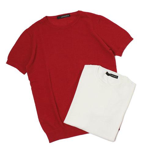 ジョルディーズ / JEORDIE'S / ニット Tシャツ / コットン アイスクレープ クルーネック 半袖【オフホワイト/レッド】【SALE】