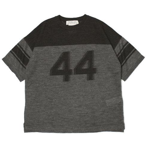 レミレリーフ / REMI RELIEF / Tシャツ / リネン 44 カット ジャカード 切替え ボーダー クルーネック【ブラック】