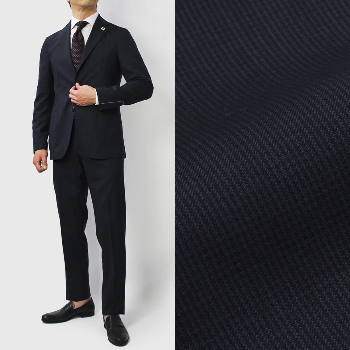 【国内正規品】S/S 新作 LARDINI ( ラルディーニ ) / JP031AQ / Easy Wear / パッカブル / ウール ピンチェック 撥水ストレッチ スーツ【ネイビー】【送料無料】