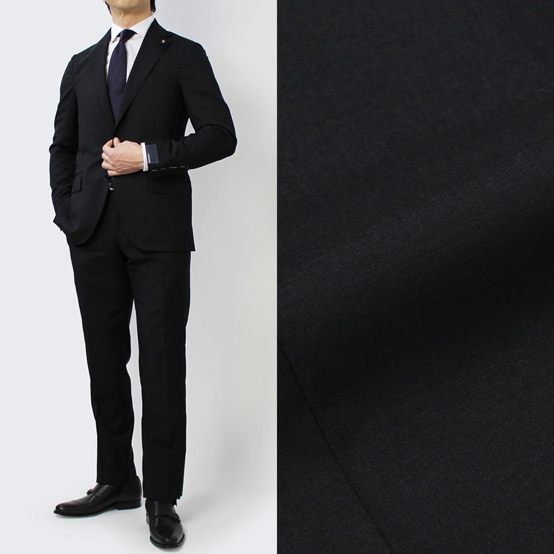 【国内正規品】S/S 新作 LARDINI ( ラルディーニ ) / JP0823AQ / ウール ナチュラルストレッチ ワンプリーツ スーツ【ブラック】【送料無料】
