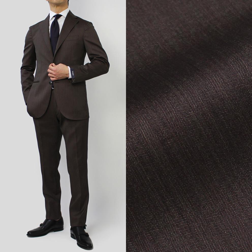 バルバ / BARBA / スーツ / 3B ワンプリーツ ウール シルク ソラーロ / S LAR【ブラウン】【SALE30】