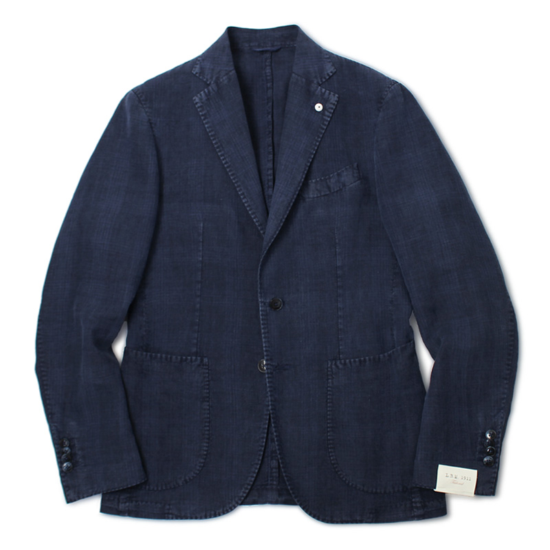 L.B.M.1911 / ジャケット / リネン100% 製品洗い 2B 2パッチ / ジャック スリム / JACK SLIM / AL29705789【インディゴ】【SALE30】