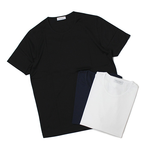 グランサッソ / GRANSASSO / クルーネック Tシャツ / マーセライズ コットン シルケット加工【ホワイト/ネイビー/ブラック】