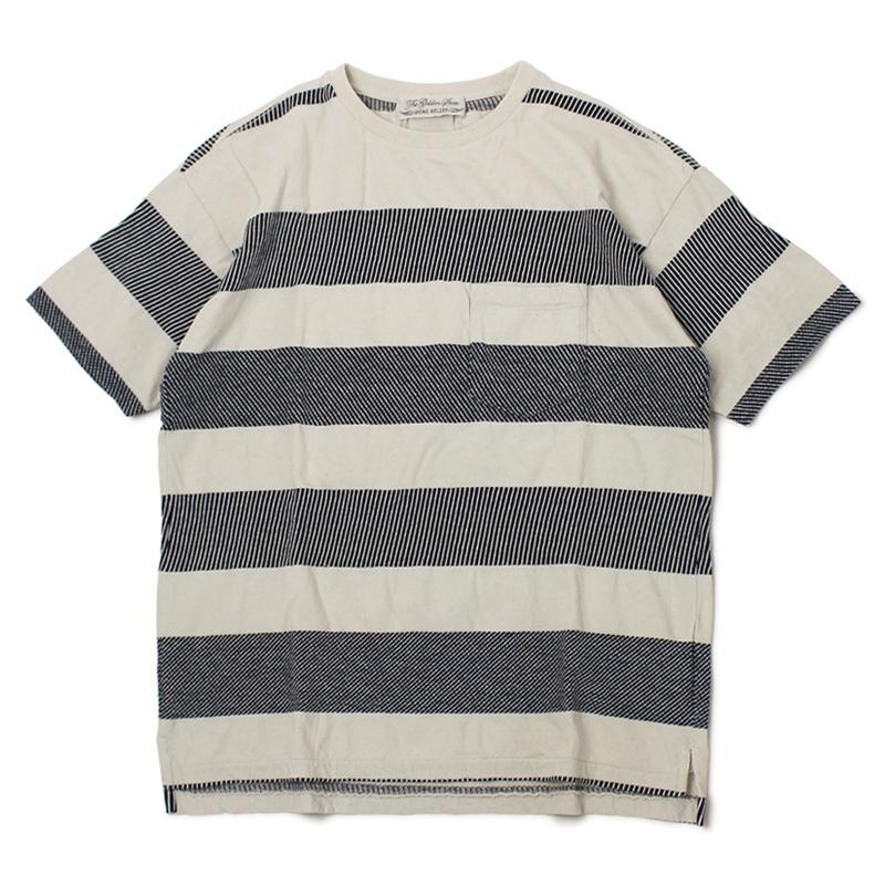 レミレリーフ / REMI RELIEF / Tシャツ / インディゴ 太ボーダー 半袖【インディゴ】【SALE 30】