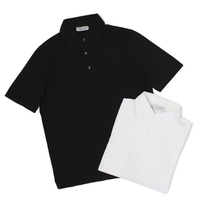グランサッソ / GRANSASSO / ニット ポロシャツ / 12G ソフト コットン【ホワイト/ブラック】【SALE 30】