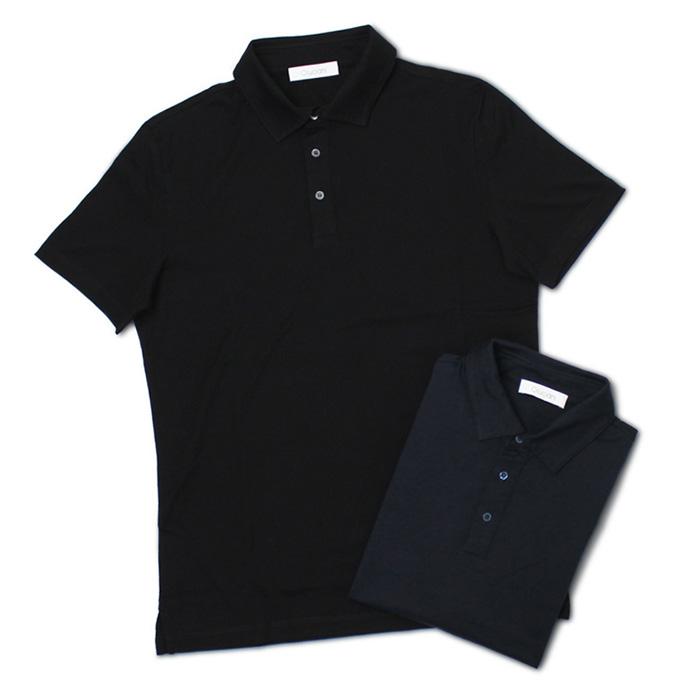 クルチアーニ / Cruciani / 半袖 ポロシャツ / コットン シルケット加工 / JU1304【ネイビー/ブラック】