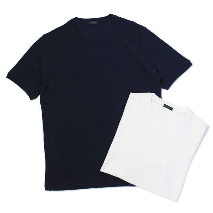 ザノーネ / ZANONE / アイスコットン / クルーネック Tシャツ / 812064-ZW370【0001.ホワイト/0542.ネイビー】【SALE 30】