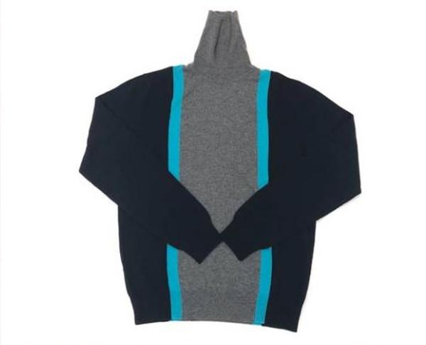HERMES エルメス タートルネック ハイネック セーター カシミヤ100% 3カラー ネイビー×ターコイズブルー×グレー #L【中古/新同】