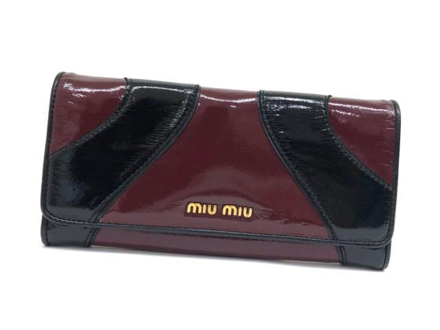 miu miu ミュウミュウ 2つ折り長財布 パテントレザー エナメル ボルドー ブラック【中古】【あす楽対応】