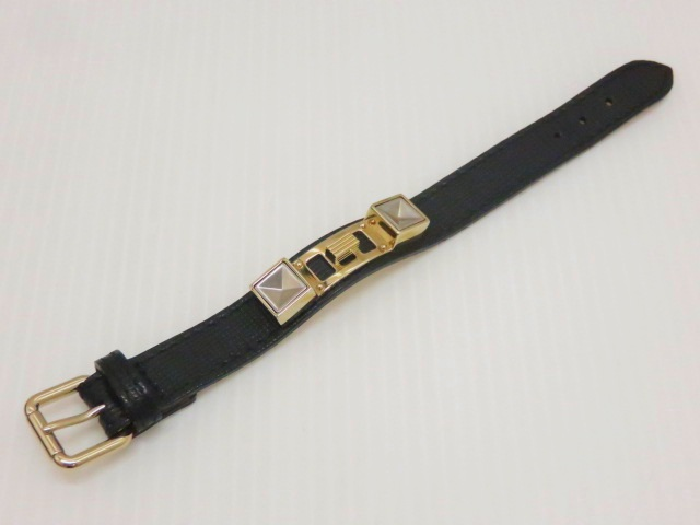 プロエンザスクーラー レディースブレスレット レザー 黒 腕回り約16cm 〇YR-06519-2〇