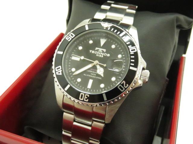 【中古未使用展示品】テクノス 腕時計 TAM629SB 回転ベゼル 電池切れ 〇YR-07841-2〇