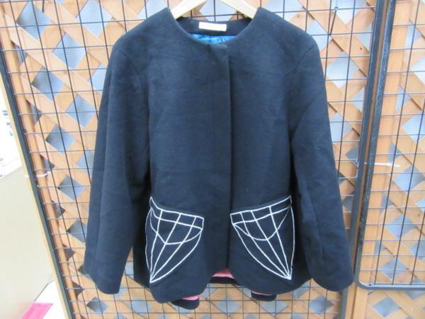 【中古品】 TSUMORICHISATO ツモリチサト ジャケット ダイヤ刺繍 カバーオール ブラック ウール90% 〇YR-01042〇