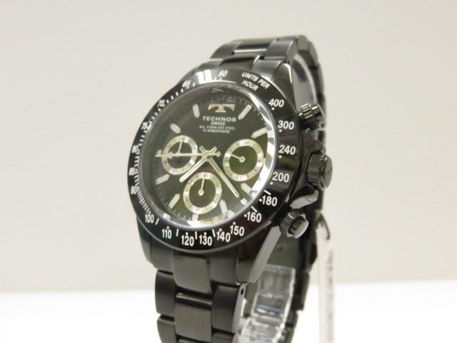 中古未使用品 テクノス 腕時計 日時指定 TGM615BB ブラック 電池切れ 〇YR-07979〇 クォーツ クロノグラフ 今だけスーパーセール限定