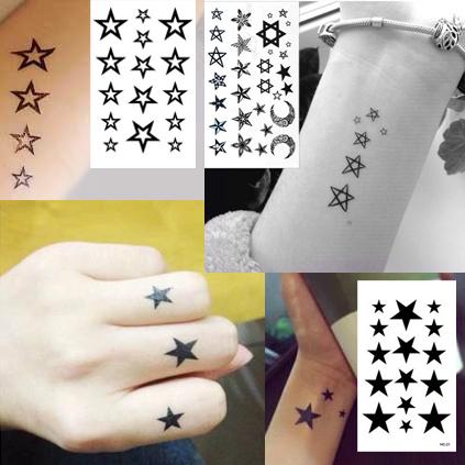 当日締切午前10時迄 タトゥーシール ブラックスター 星 NEW ARRIVAL フェイクタトゥー 卸売り ハロウィン タトゥーステッカー