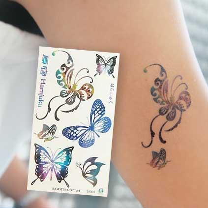 当日締切午前10時迄 タトゥーシール サイケデリック バタフライ 蝶 チョウ 休日 フェイクタトゥー 贈呈 タトゥーステッカー ハロウィン