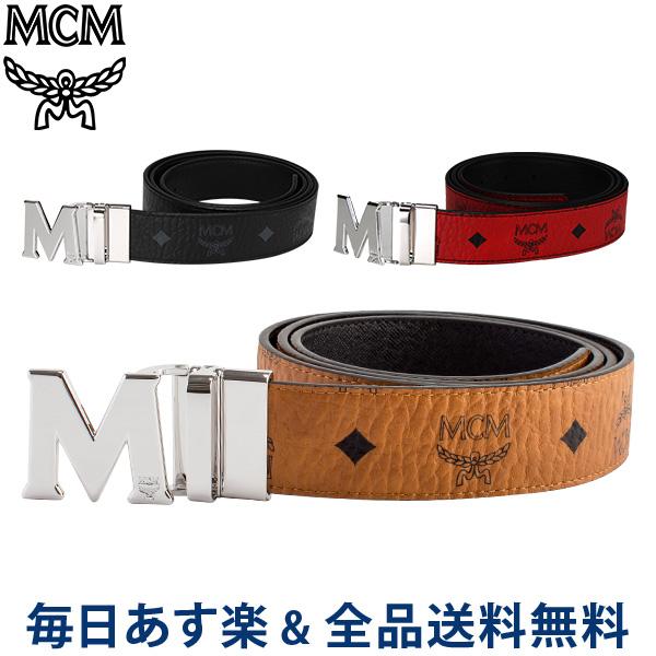 [全品送料無料]【コンビニ受取可】 MCM エムシーエム リバーシブル ベルト メンズ フリーサイズ MXB6AVI02 MEN'S BELT VISETOS リバーシブルベルト カット調整可
