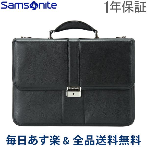 【1年保証】[全品送料無料] サムソナイト Leather Business レザービジネス Flapover Leather Business Case フラップオーバー レザーブリーフケース Black ブラック 43120-1041 ビジネスバッグ パソコンケース ブリーフケース 送料無料