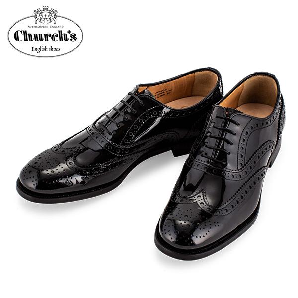 【全品3%OFFクーポン】チャーチ Church's レディース レザーシューズ Burwood 3W バーウッド ウィングチップ レースアップ オックスフォードシューズ DE0032 ブラック Leather Black
