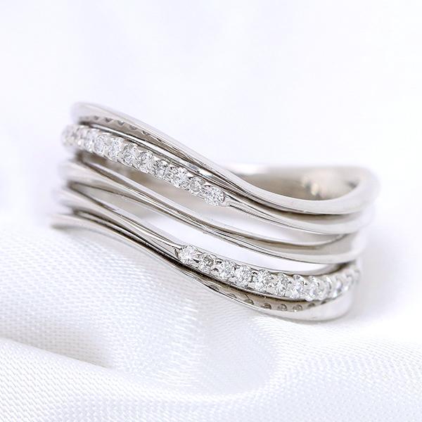 【10%OFFクーポン対象&P2倍】ダイヤモンド 0.150カラット 抑揚あるライン リング/指輪 K18 PG WG 18金 (※プラチナ対応可) 流線型に輝くダイヤモンド /白・透明(ホワイト)/受注生産品・新品/届30/送料無料 ギフト