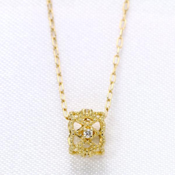 ダイヤモンド 0.030カラット小さなベビーリングがデコルテで転がる・ ネックレス K18 PG WG 18金(※プラチナ対応可) PetitJewel /白・透明(ホワイト)/受注生産品・新品/届30/ ギフト