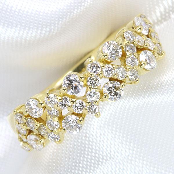 【10%OFFクーポン対象&P2倍】きらめきのスバル ダイヤモンド 0.70カラット 18金イエローゴールド K18 リング/指輪 日常使いにお勧め /白・透明(ホワイト)/【中古】/届5/ギフト プレゼント/送料無料 ギフト/1点もの