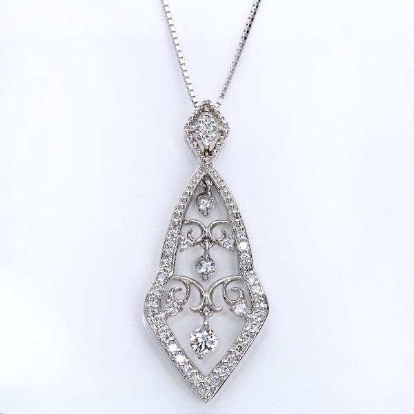 ダイヤモンド 0.50カラット ネックレス K18 PG WG 18金(※プラチナ対応可) ゆれる動きもあり! 鑑別書付 センスと技術の結晶 /白・透明(ホワイト)/受注生産品・新品/届30/送料無料 ギフト